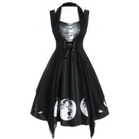 Sweetheart Lunar Eclipse Print Dress with Lace Insert Corset
