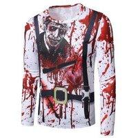 Halloween Stab Heart Faux Suit Print Crew Neck Slim T Shirt
