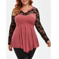Plus Size Floral Lace Panel Tunic Top