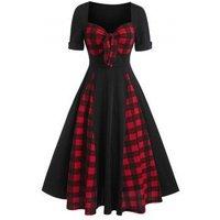 Sweetheart Neck Bow Tartan Insert Belted Mid Calf Dress