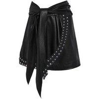 Rivet Detail Self Tie Asymmetric Faux Leather Skirt