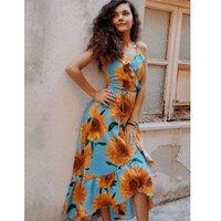 Sunflower Print Spaghetti Strap Wrap Maxi Dress