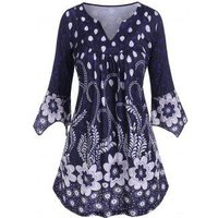 Plus Size Flower V Notch Hanky Sleeve Tunic Top