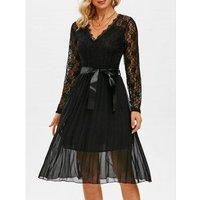 Lace Bodice Chiffon Belted Pleated Dress