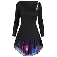 Mock Button Asymmetrical Neck T-shirt with Galaxy Camisole