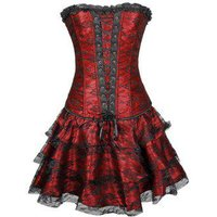 Lace Panel Lace-up Boned Corset Set with TuTu Petticoat