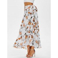 Flower Print Wrap Maxi Skirt