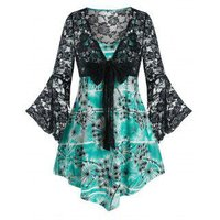 Plus Size Bell Sleeve Bowknot Lace Top and Camisole Set