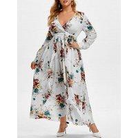 Plus Size Low Cut Floral Print Maxi Dress