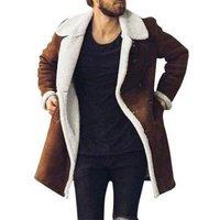 Lapel Faux Fur Lined Faux Suede Longline Coat