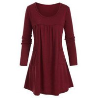 Ruched Detail Front Pocket Tunic Top