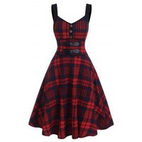 Mock Button Tartan Print Empire Waist Cami Dress