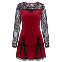 Lace Up Velvet Lace Panel Tunic Top