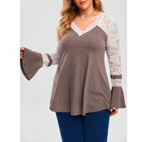 Plus Size Lace Panel Flared Cuffs Tunic Top
