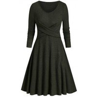 Criss Cross Ribbed Knitted A Line Dress