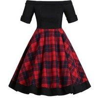 Off Shoulder Foldover Tartan Mini Dress