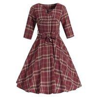Tartan Belted Surplice Dress