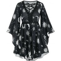 Lace Up Star Sun and Moon Skirted Tunic Top