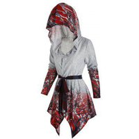 Tree Print Hooded Belted Cardigan