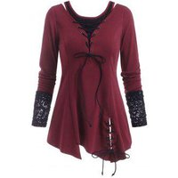 Lace-up Lace Panel Cold Shoulder Asymmetrical Tunic Top