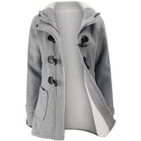Plus Size Hooded Faux Shearling Lined Duffle Coat