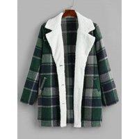 Plus Size Plaid Faux Fur Single Breasted Tunic Coat