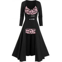 Halloween High Low Buckles Top and Bat Print Mesh Camisole Set