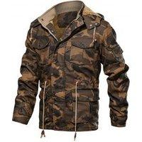 Camouflage Print Toggle Drawstring PU Leather Cargo Jacket