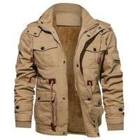 Faux Fur Lined Waist Drawstring Cargo Jacket