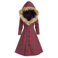 Hooded Faux Fur Insert Lace Up Plaid Coat