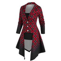 Irregular Ombre Plaid Coat and Camisole Set