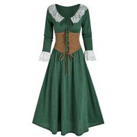 Lace Insert Bowknot Heathered Dress and Lace-up Corset