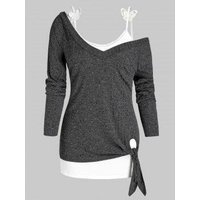 Plus Size Skew Neck Knitted Tied Top with Butterfly Applique Camisole