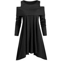 Ribbed Panel Jersey Cold Shoulder Asymmetrical Tunic Top