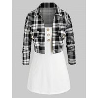 Plus Size Open Front Plaid Top and Camisole Twinset