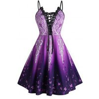 Plus Size Lace-up Ombre Butterfly Print Cami Dress
