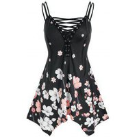 Plus Size Lace-up Flower Print Hanky Hem Tunic Cami Top
