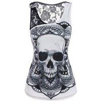 Lace Insert O Ring Skull Print Tank Top