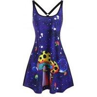 Mushroom Print O Ring Strappy Tank Dress