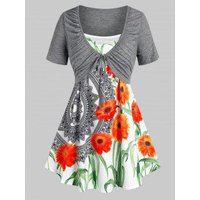 Plus Size Ruched Front Tie Tee and Floral Camisole Set