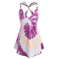 Plus Size Tie Dye Strap Knotted Tunic Tank Top