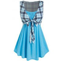Plus Size Longline Camisole with Tie Front Plaid Tank Top