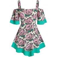 Plus Size Floral Cold Shoulder Tunic Top