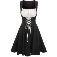 Colorblock Flounce Front Lace Up Corset Dress