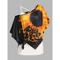 Plus Size Sunflower Print Batwing Sleeve Tee and Camisole Set