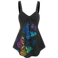 Butterfly Print Twist Tunic Tank Top