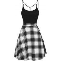 Tartan Plaid Insert Crisscross Mini Cami Dress