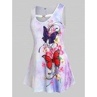 Plus Size Butterfly Flower Tie Dye Tunic Tank Top