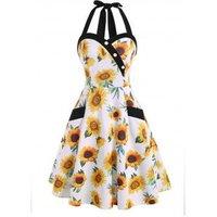 Flower Print Halter Mock Button Pocket Dress