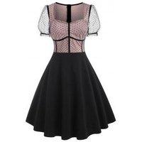Polka Dot Mesh Insert Puff Sleeve Corset Style Dress